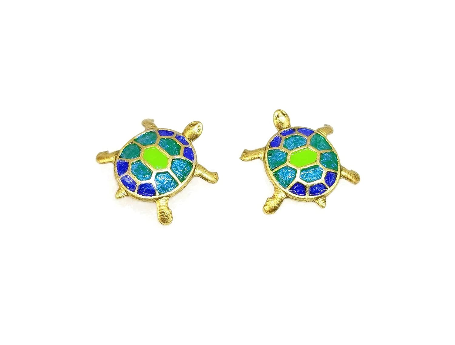 Mini Gold Manufacturer direct delivery Turtle Jewelry Post Ranking TOP10 Earrings Small - Cute Painted Hand