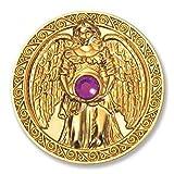 Glücksmünze Engeltaler Harmonie, Schutzengel Engel Taler 24kt vergoldet mit Swarovski Elements, Glücksbringer Talisman Schutzsymbol Glückstaler