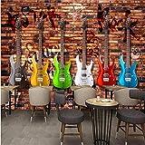 LYSBHX Papier Peint 3D Auto-Adhésif (W) 400X (H) 280Cm Photo Papier Peint Rétro Outils Rétro Salon Commercial Chambre Tv Fond Mur Musique Guitare Guitare Électrique Mur De Briques