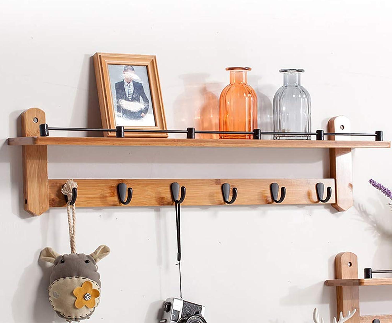 Wall-Mounted Coat Rack, Bamboo Wall Decorative Shelf with Metal Hooks (76cm 6 Hooks)