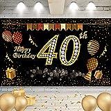 40 Años Pancarta Feliz Cumpleaños, Banner de Fondo cumpleaños, Cartel para fiestas de cumpleaños, Banner de Fondo cumpleaños, Banner de Fondo para Fiesta de cumpleaños, para Decoración de Fiesta