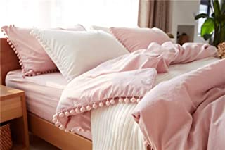 TanNicoor Pom Fringe Duvet Cover Set - 3 Piece Natural Ultra SOFE Color Washed Cotton Bedding Set, Modern Style Down Comforter Quilt Cover with Zipper Closure(King Peach Pink)