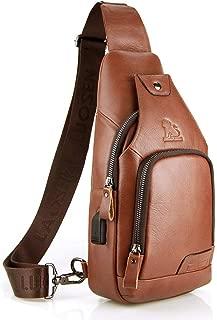 Tippnox Vintage Leather Sling Bag for Men Crossbody Shoulder Chest Day Pack Backpacks with USB Charging Port (Brown)