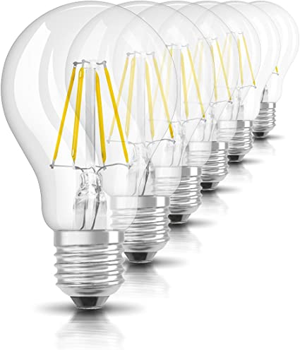 Osram Retrofit Cl A 60 Bombilla LED E27, 7 W, Blanco, 6 Unidades