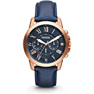 Fossil Men's Grant Quartz Stainless Steel and Leather Chronograph Watch, Color: Rose Gold, Navy...