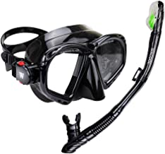 WACOOL Snorkeling Package Set for Adults, Anti-Fog Coated Glass Diving Mask, Snorkel with Silicon Mouth Piece,Purge Valve and Anti-Splash Guard