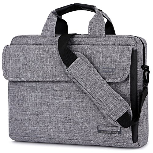 BRINCH Laptop Bag Oxford Fabric Portable Notebook Messenger Bag Shoulder Briefcase Handbag Travel Carrying Sleeve Case w/Shoulder and Luggage Strap for Men Women Compatible 14 Inch Laptop, Gray