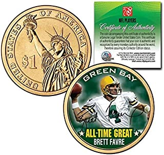 BRETT FAVRE GREEN BAY PACKERS ALL-TIME GREAT SIGNATURE PRESIDENTIAL $1 COIN! COA & DISPLAY STAND!