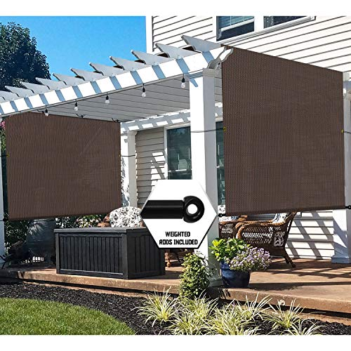 TANG 10'x12' Brown Outdoor Sun Shade Panel Universal Pergola Replacement Cover Canopy with Grommets Weight Rods Sun Block Cover for Patio Backyard