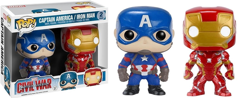 Funko 023561 Pop Marvel  Civil War Captain America Iron Man 2 Pack 2 Vinyl Figure