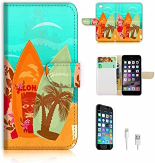 (For iPhone 8 Plus/iPhone 7 Plus) Flip Wallet Case Cover & Screen Protector & Charging Cable Bundle! A8053 Surf