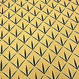 Kt KILOtela Tela de loneta Estampada Digital - Half Panamá 100% algodón - Retal de 100 cm Largo x 280 cm Ancho | Geométrico, rombo Tribal - Mostaza ─ 1 Metro