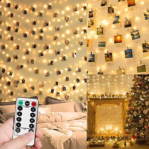 WEARXI Lichterketten für Zimmer Dekoration - 10M 100 LED Fotoclips Lichterkette mit Klammern für Fotos, Wasserdicht 8 Modi Foto Lichterkette Bilderrahmen, Wohnzimmer, Haus, Weihnachten, Hochzeit