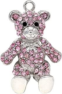 Creative DIY Cute Pink Crystal Teddy Bear Charms Pendants Wholesale (Set of 3) MH33