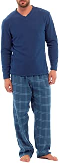 Mens Thermal Fleece Top & Cotton Brushed Bottoms Pyjamas by Tom Franks HT735 Navy 2XL