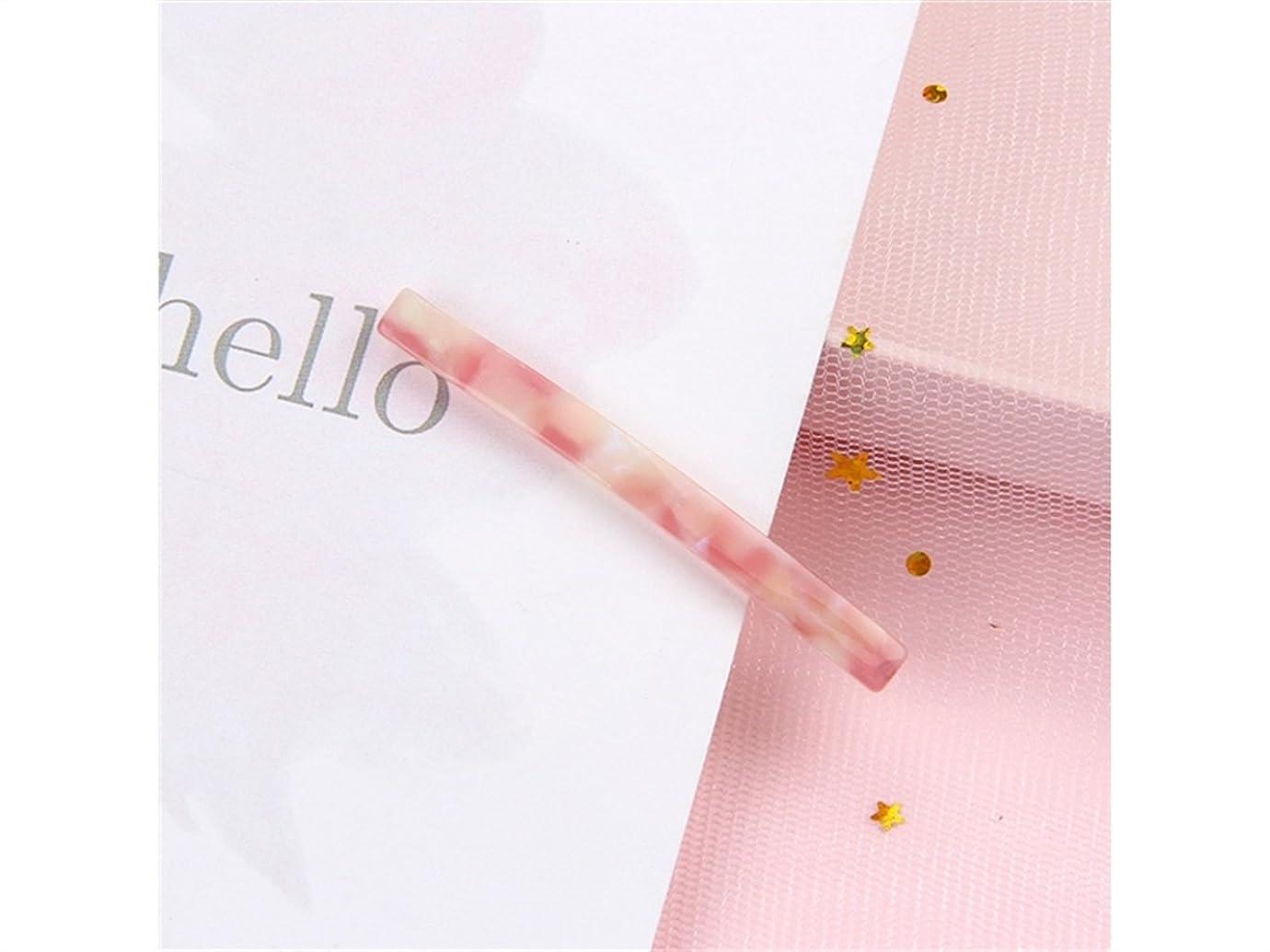 ピストル解放する略語Osize 美しいスタイル 女性用ナローワンワードクリップサイドクリップ合金ヘアクリップヘアアクセサリー(フローラルピンク)