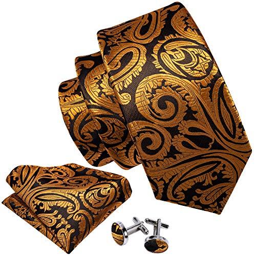 Barry.Wang Designer - Juego de corbata, pañuelo cuadrado para bolsillo y gemelos, para hombre, seda, diseño de Paisley Dorado dorado Talla única