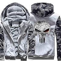 ファー裏地付きスリーブ付きメンズフリースパーカーフルジップスウェットシャツ (Color : Light gray, Size : XXL)