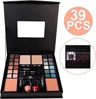 Multi-purpose Makeup Kit - 24 Colors Eyeshadow Palette, 2 Foundations, 2 Blush, 2 Brow Brush, 1 Mascara, 2 Eyeliners, 2 Lipsticks, 2 Nail Polishes, 1 Eye Shadow Brush, 1 Mirror in a Fashion Black Case