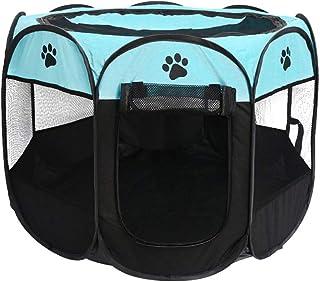 Balacoo Pop öppen kennel bärbar katt bur kennel husdjur tält hus lekplats för hundar katter (blå svart 72 x 72 x 45 cm)