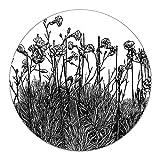 Coloray Tabla De Cortar Cocina Vidrio Templado Para Servir Platos ⌀ 40 cm Placa De Induccion Protector - Vintage grabado Una planta floreciente Bunchdianthus