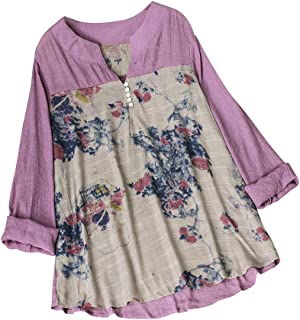 TINGZI Women Tees Vintage V-Neck Shirts Floral Printing Patch Long Sleeves Top T-Shirt Blouse Loose Comfy Tunic