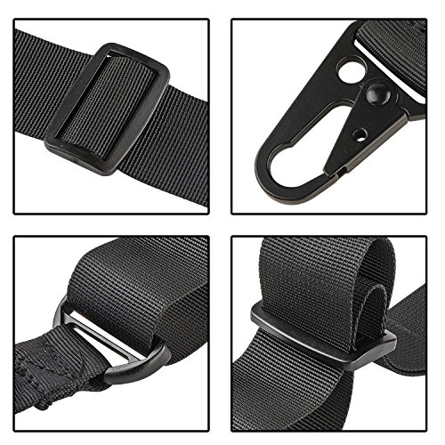 CVLIFE Two Points Sling with Length Adjuster Traditional Sling with Metal Hook for Outdoors Black