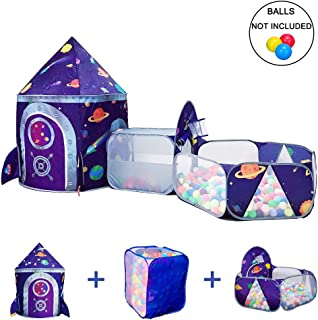 LOJETON 3pc Space Ship Kids Play Tent, Storage Tunnel & Ball Pit with Basketball Hoop for Boys, Girls and Toddlers - Indoor/Outdoor Use Pop Up Rocket Tent