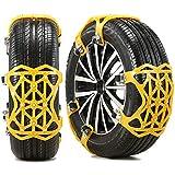 5BILLION Cadena de Nieve, 6 Piezas Cadenas de Coche Antideslizantes Universales Aptas para SUV/ATV/UTV Ancho del neumático 165 mm-285 mm (Amarillo)
