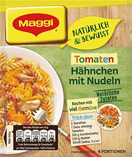 Maggi Familien Natürlich & Bewusst Tomaten Hähnchen mit bunten Nudeln, 15x56 g Beutel