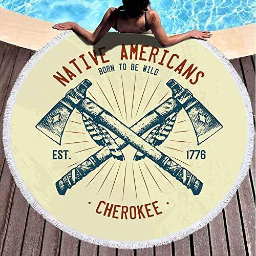 AEMAPE Toalla de Playa Redonda Tradiciones nativas Cuchillo Americano Manta de Playa Toalla de Piscina Alfombra de Picnic