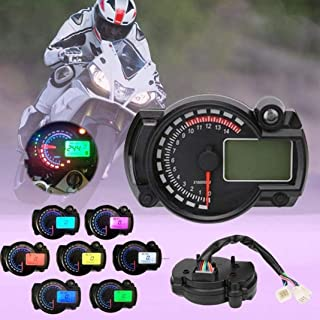 Ugthe Waterproof Lcd Modified Meter Motorcycle Code Meter Digital Odometer Speedometer 7 Color Backlight - Black