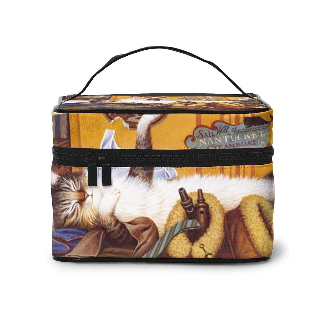 ケイ素に向かってしかしメイクポーチ 化粧ポーチ コスメバッグ バニティケース トラベルポーチ ボヘミアン猫 かわいい 雑貨 小物入れ 出張用 超軽量 機能的 大容量 収納ボックス