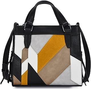Leather Suede Color Block Mini Tote Crossbody- Black/Yellow