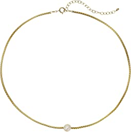 Dogeared - Silky Box Chain Choker w/ White Pearl Necklace