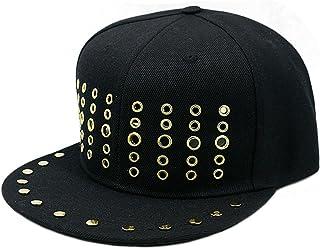 Wide Brim hat Spring and Summer Season Round Hole Metal Rivet Baseball Cap Men and Women Wear The Street Dance Cap Gangste...