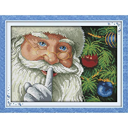 Everlasting Love Happy Christmas Drei Ökologische Baumwolle Cross Stitch 11CT 14CT Klar Gestempelt Gedruckt Kreuzstich-Malerei (Nombre CT de tissus en points de croix : 11CT stamped product)
