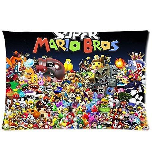 Funda de almohada personalizada de Super Mario Bros tamaño estándar 50 x 76 cm, algodón P728 por Cr Diy