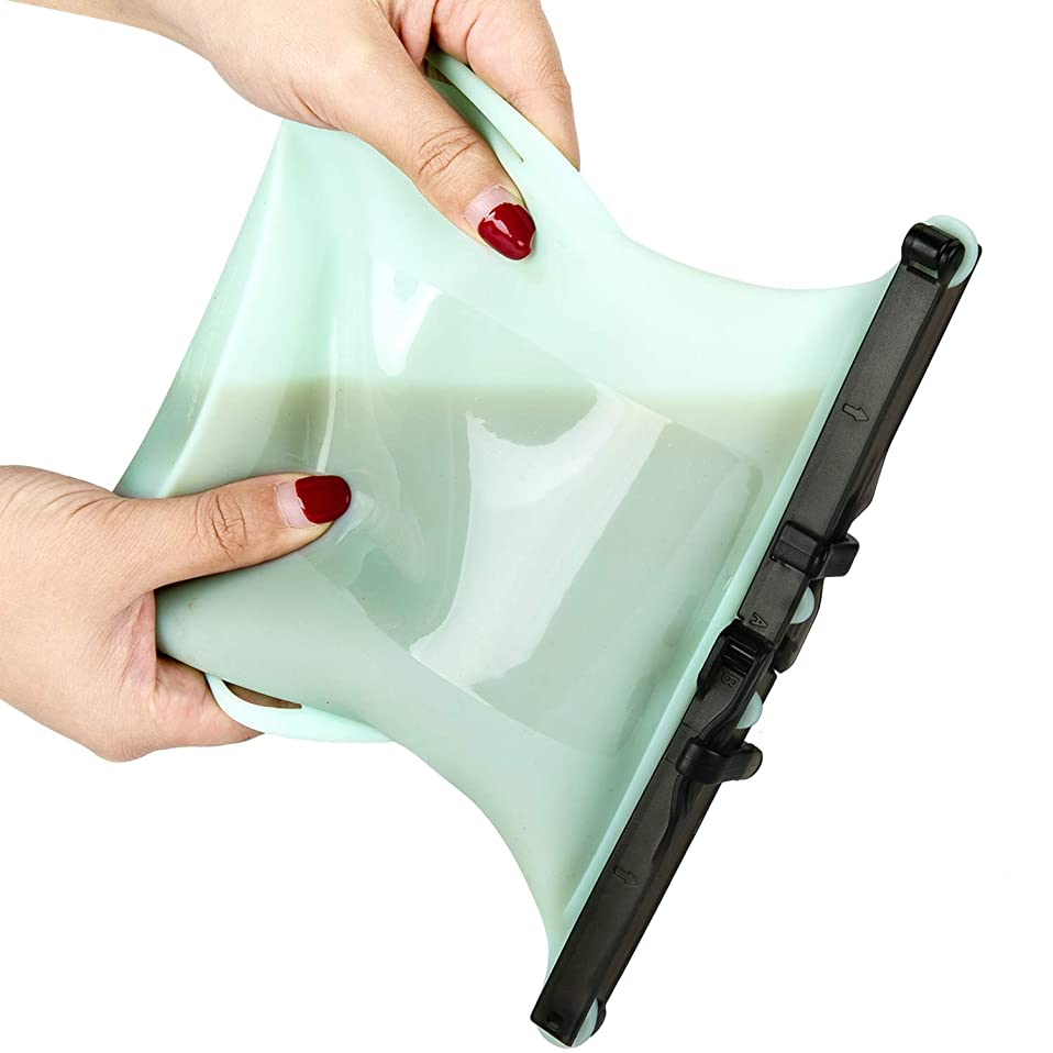 Reusable Silicone Food Storage Bags - [FDA Approved] [Large (1 L)] [Leak Proof] Clip Lock Foldable Cooking Sous Vide Organizer Bag for Milk Meat Vegetable Freezer Microwave Snack Sandwich(Green)