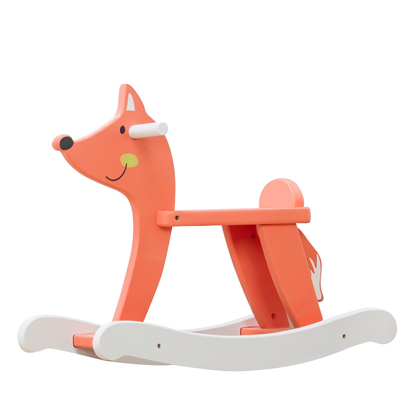 labebe - Baby Rocking Horse, Wooden Fox Rocker for 1-3 Year Old, Kid Rocking Animal for Infant Boy&Girl, Toddler/Child Ride On Toy, Nursery Fox Rocking Chair for Outdoor&Indoor, Birthday Gift - Orange