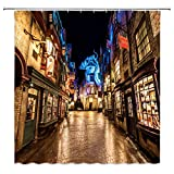 bcnew Harry Potter Duschvorhang Decor Night Street View Diagon Alley Magic World Speichert blau gelb, Polyester-177,8 x 177,8 cm-Wasserdicht Schimmelresistent 12 Haken Modern 70 inch Multi 4482w