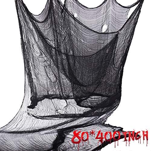 Joyjoz Halloween Deko 10M*2M Black Creepy Cloth, Halloween Dekoration Stoff Gruselig Tuch Party Deko für Windows Tisch Türen Deko Halloween Party Prop