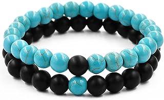 Belons Par de pulseras elásticas de 8 mm, color azul turquesa y negro mate ágata cuentas distancia conjunto de pulsera, 2 ...