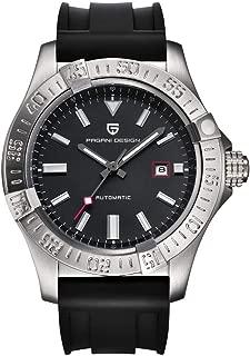 Men's Automatic-Self-Wind Luxury Dress Watches Rubber Strap Waterproof Wrist Watch (Silver)