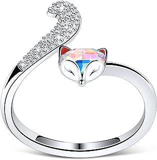 PLATO H S925 Sterling Silver Fox Animal Ring Crystals for Women Teen Girl High Polish Plain Adjustable Fox Tail Ring Anniv...