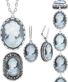 أنستوري 4 قطع سيدة ملكة كاميو مجموعات المجوهرات خمر نظرة قلادة أقراط خاتم سوار الأزياء والمجوهرات