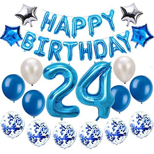 Oumezon 24 Geburtstag Dekoration Blau, 24. Geburtstag deko für Mädchen Jungen Happy Birthday Girlande Banner Folienballon Konfetti Luftballons Deko Geburtstag Party Anzahl Ballons
