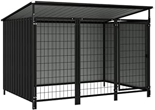 vidaXL Outdoor Dog Kennel Fencing Run Garden Enclosure Pet Cage Furry Animal House Lockable Puppy Shelter with Roof Shade ...