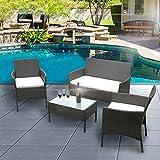 ANABELLE Ensemble Table en Verre + 3 Chaises en Rotin PVC Moderne -Imperméable à l'eau -Résistant aux Rayons UV pour Jardin, Balcon, Terrasse