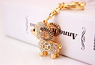 JewelBeauty Lamb Sheep Fortune Coin Goat Charm Pendant Crystals Rhinestones Purse Car Bag Keyring Key Chain (Silver)
